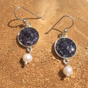 Silver Crushed Mussel Shell Earrings with Pearl
