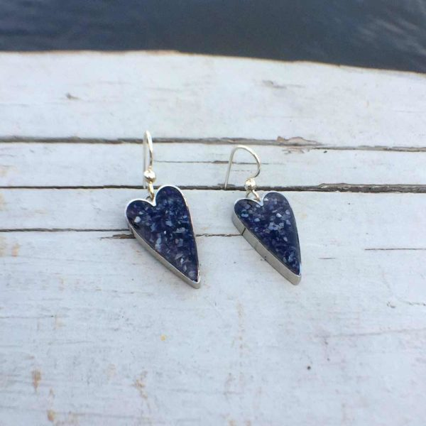 Silver Crushed Mussel Shell Heart Earrings