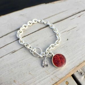 Crushed Lobster Shell Silver Charm Bracelet