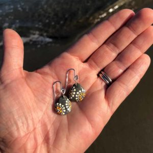 Peach & White Dot Hand Painted Beach Stone Earrings