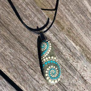 Long Teal & White Dot Beach Stone Necklace