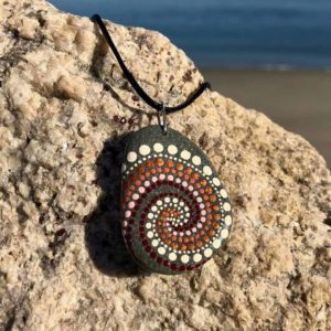 Burgundy Swirl Dot Beach Stone Necklace