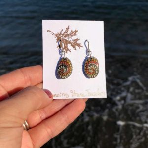 Gold & Peach Dot Hand Painted Beach Stone Earrings