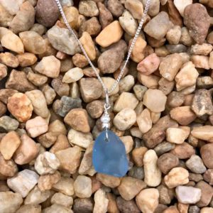 Light Blue Sea Glass with Tiny Pearl Necklace