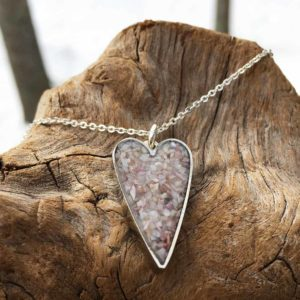 Crushed Oyster Shell Small Sterling Silver Heart Necklace