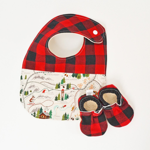 Two Little Beans Bibs - Buffalo Plaid