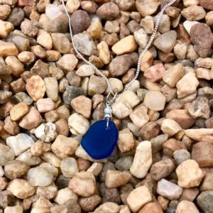 Cobalt Blue Sea Glass with Tiny Pearl Necklace