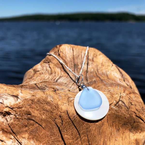 Light Blue Sea Glass on Coin Pearl Necklace