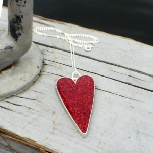 Crushed Lobster Shell Sterling Silver Heart Necklace
