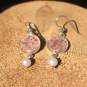 Crushed Oyster Shell Silver Earrings with Pearl