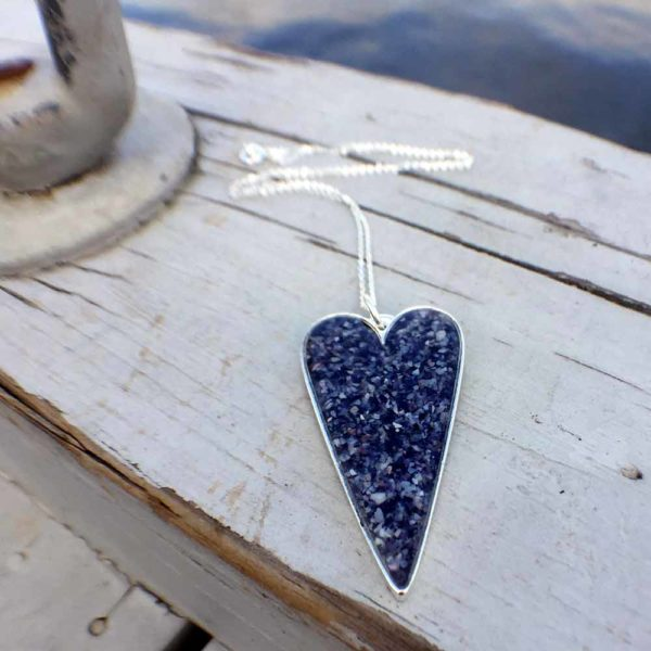 Crushed Mussel Shell Silver Heart Necklace