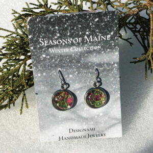 Red & Green Holly Peony Flower Earrings