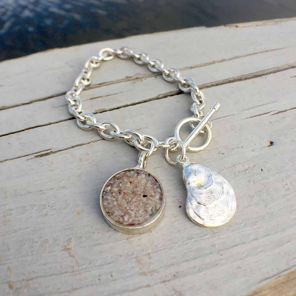 8a32ae812b51c0 Crushed Oyster Shell Charm Bracelet | Lisa-Marie's Made in Maine