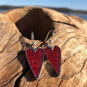 Crushed Lobster Shell Silver Heart Earrings