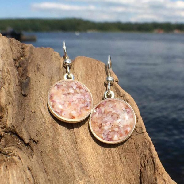 Crushed Oyster Shell Silver Earrings