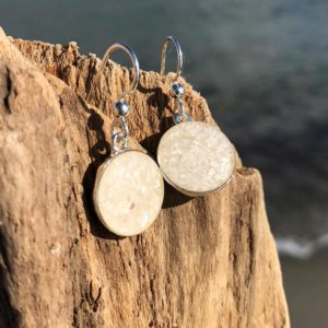 Silver Crushed Oyster Shell Earrings