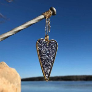 Crushed Mussel Shell Gold Heart Necklace