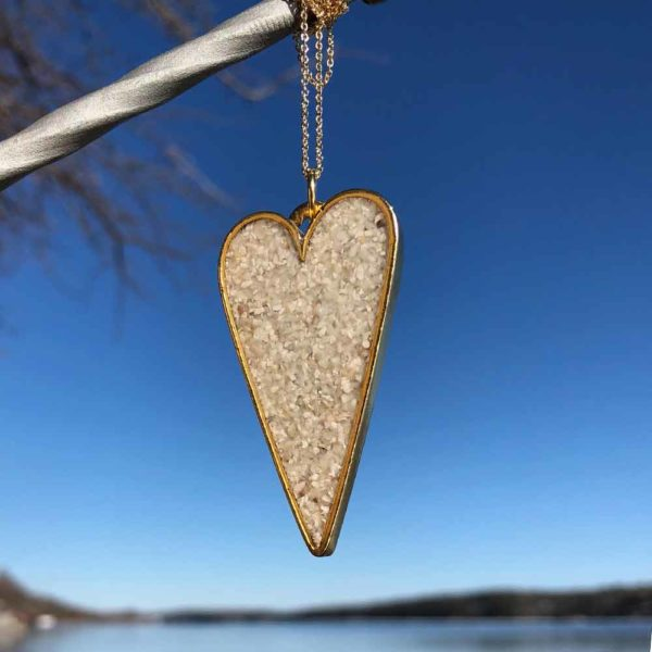 Crushed Oyster Shell Gold Heart Necklace