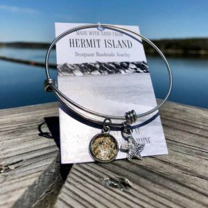 Hermit Island Beach Sand Charm Bangle Bracelet