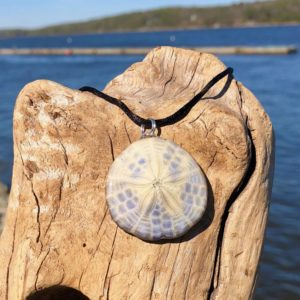 Tan & Lavender Sand Dollar Necklace