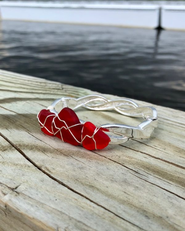 Red sea glass bracelet