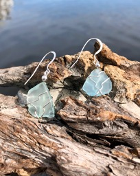 Sea Foam Sea Glass Earrings