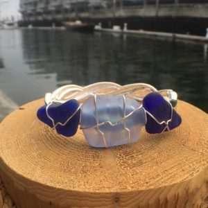 Blue Blue Sea Glass Bracelet