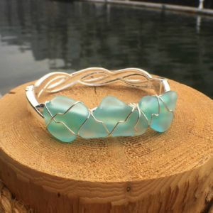 sea foam sea glass bracelet