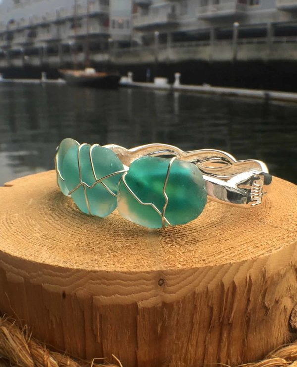 teal sea glass bracelet