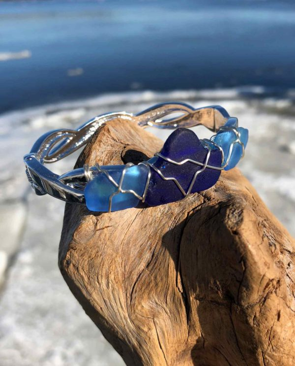 Double blue sea glass bracelet