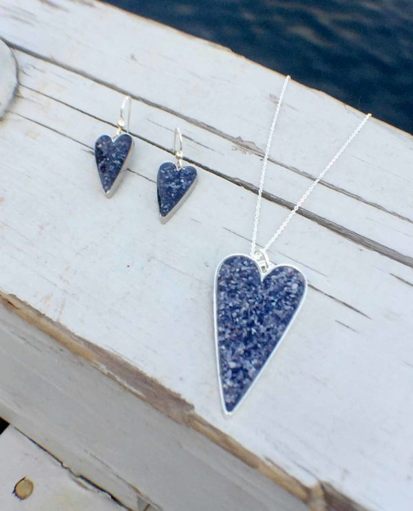 Crushed Mussel Shell Silver Heart Jewelry