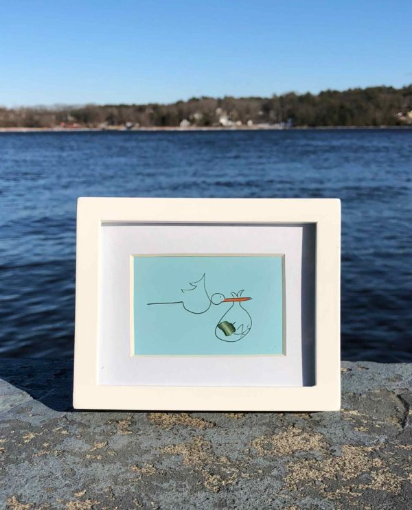 Stork with Baby Sea Glass Frames
