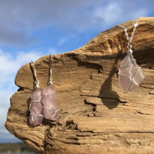 Lavender Sea Glass Earrings
