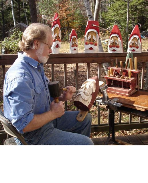 Hand Carved Santas from Maine Buoys - hand Carved Santa Buoy