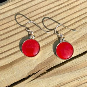 Bright Red Lobster Shell Earrings