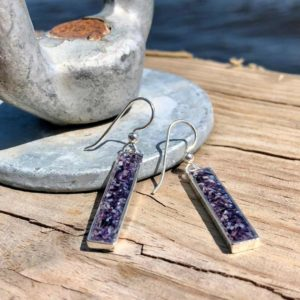 Crushed Mussel Shell Silver Rectangle Earrings