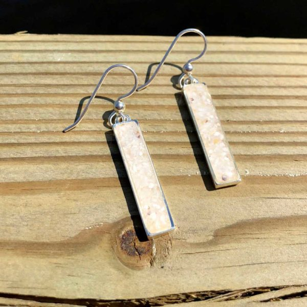 Crushed Oyster Shell Sterling Silver Rectangle Earrings