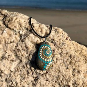 Teal Gold Swirl Beach Stone Necklace