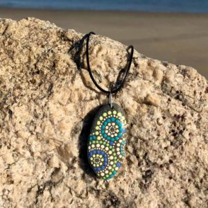 Melon & Blue Dot Beach Stone Necklace