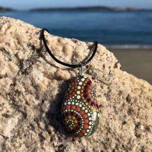 Gold & Burgundy Dot Beach Stone Necklace