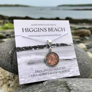 Small Higgins Beach Sand with Crushed Lobster Shell Pendant
