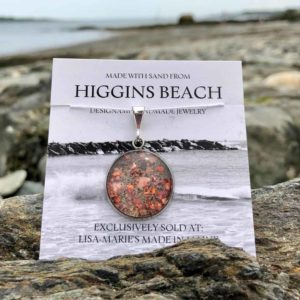 Large Higgins Beach Sand with Crushed Lobster Shell Pendant