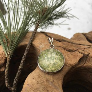 Light Green Holly & Peony Pendant