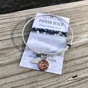 Popham Beach Sand with Crushed Mussel Shell Charm Bangle Bracelet