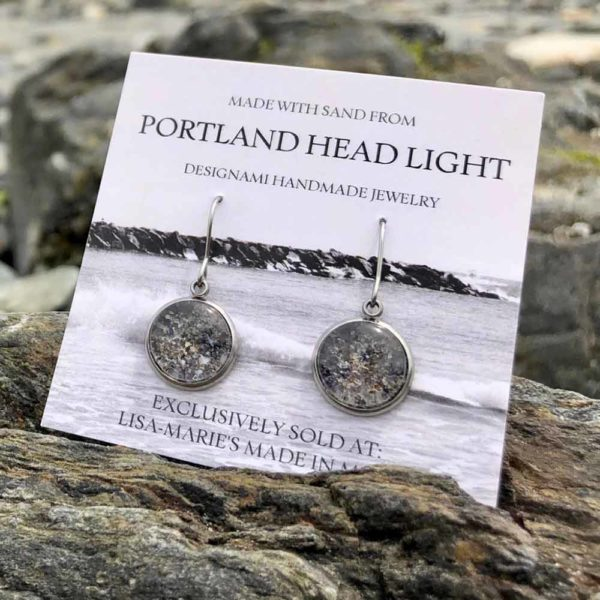 Portland Head Light Beach Sand with Crushed Mussel Shell Earrings