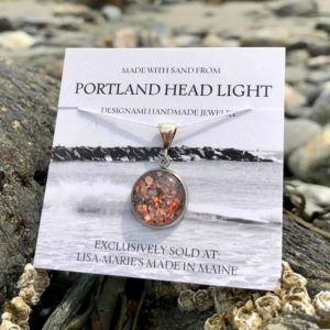 Small Portland Head Light Beach Sand with Crushed Lobster Shell Pendant