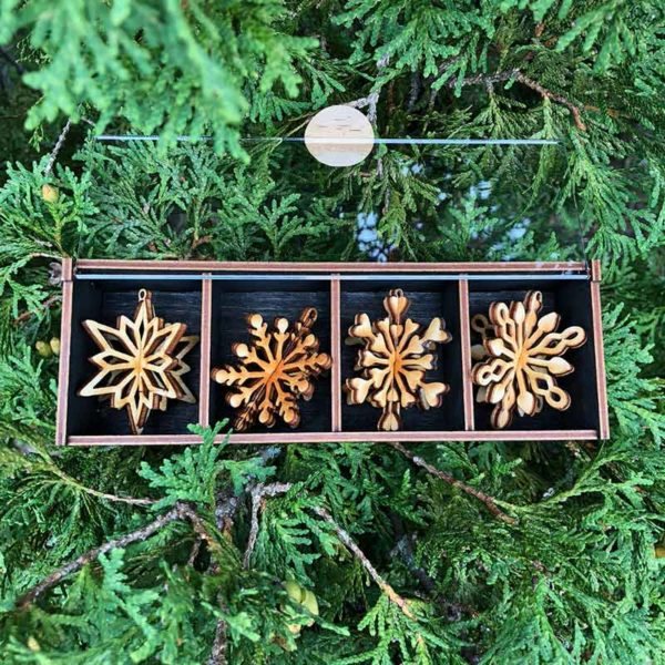 Set of 4 Mini 3D Snowflakes