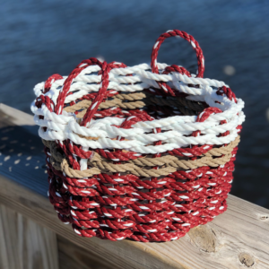Maroon with White Lobster Rope Basket