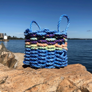 Blue & Pop of Purple Lobster Rope Basket