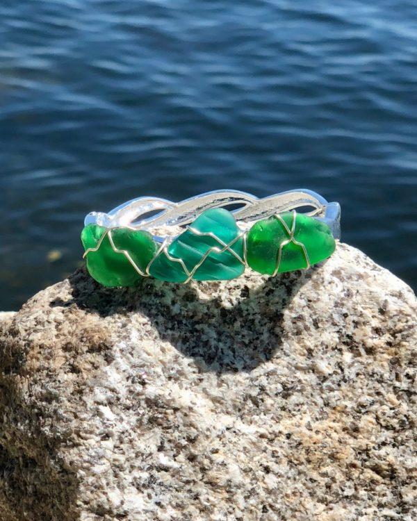 Green & Teal Sea Glass Bracelet